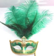 Green and Gold Feather Mask on Stick